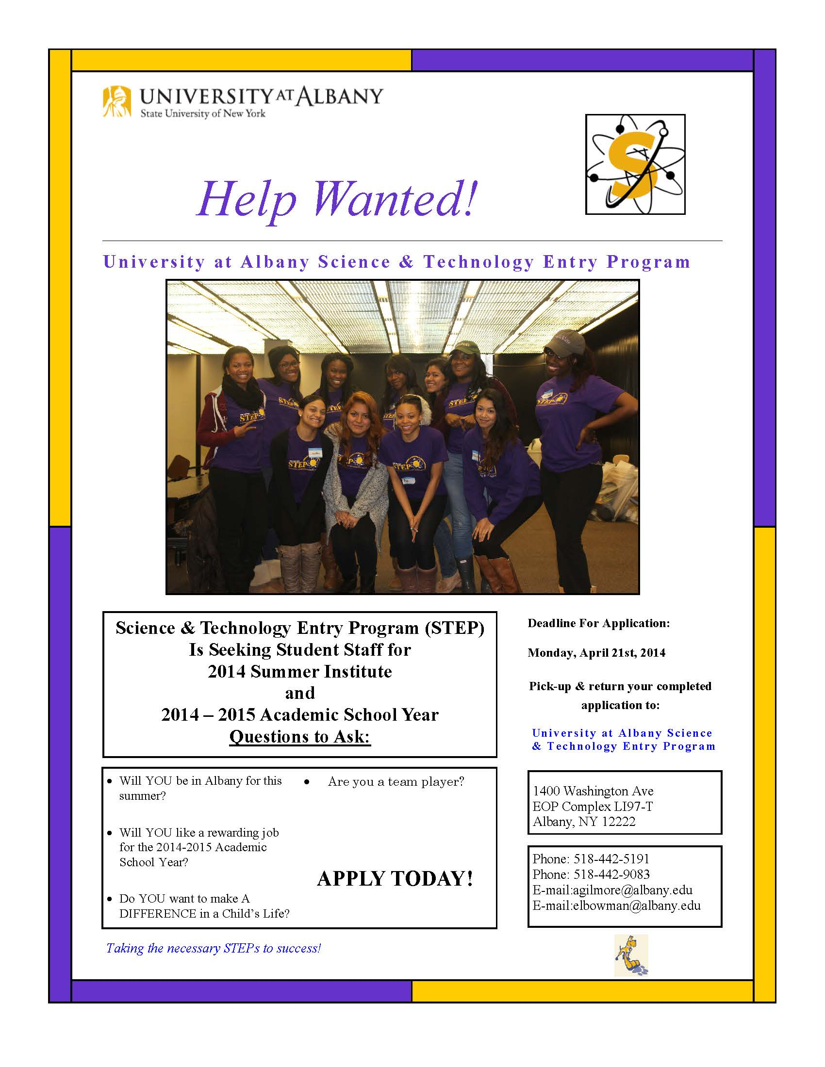 Help Wanted U Albany Science and Technology Entrance Program – Help Wanted Template Word