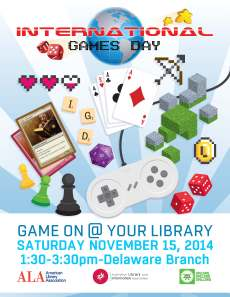 Albany Public Library International Games Day Poster