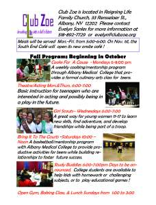 Club Zoe programs Fall 20152