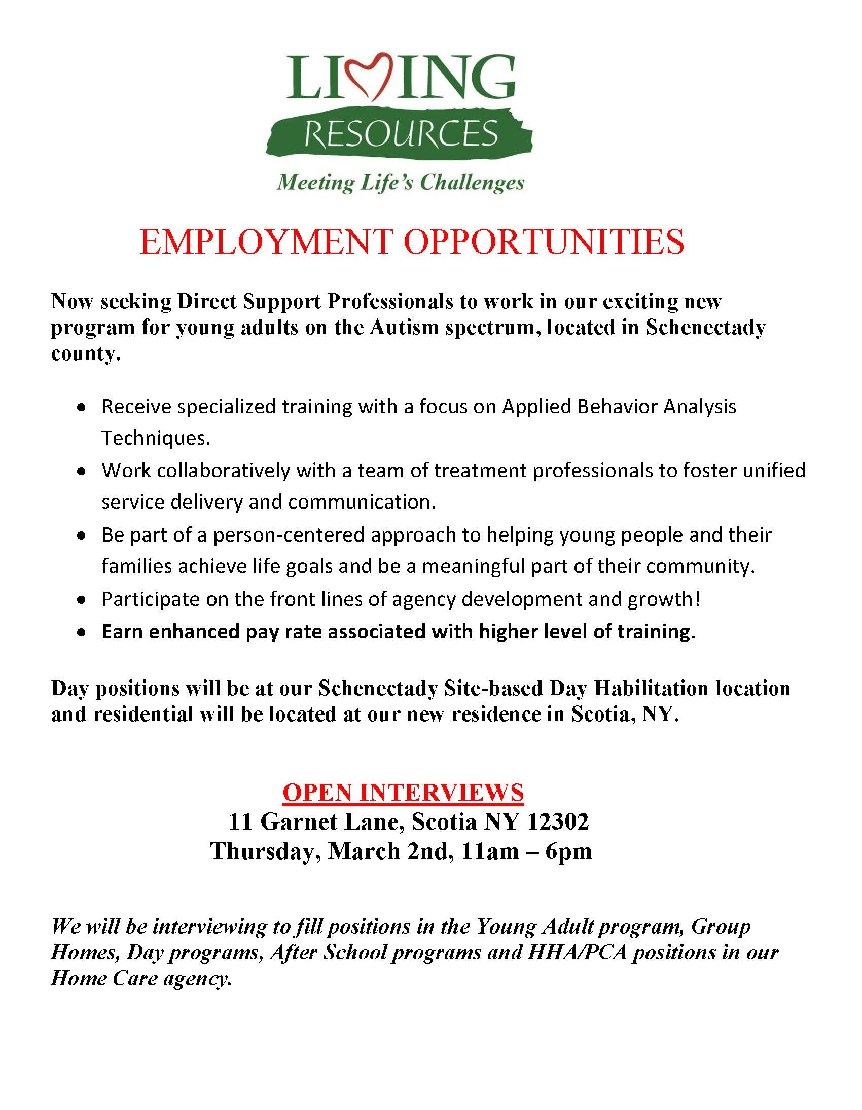 Employment Opportunity Flyer Young Adult Program 2017 Open